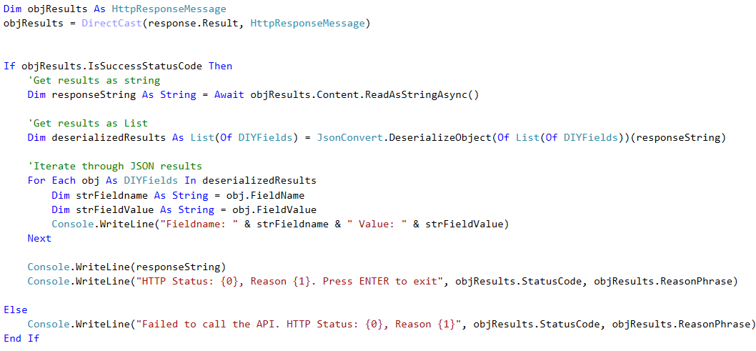 Developer API JSON Results Code