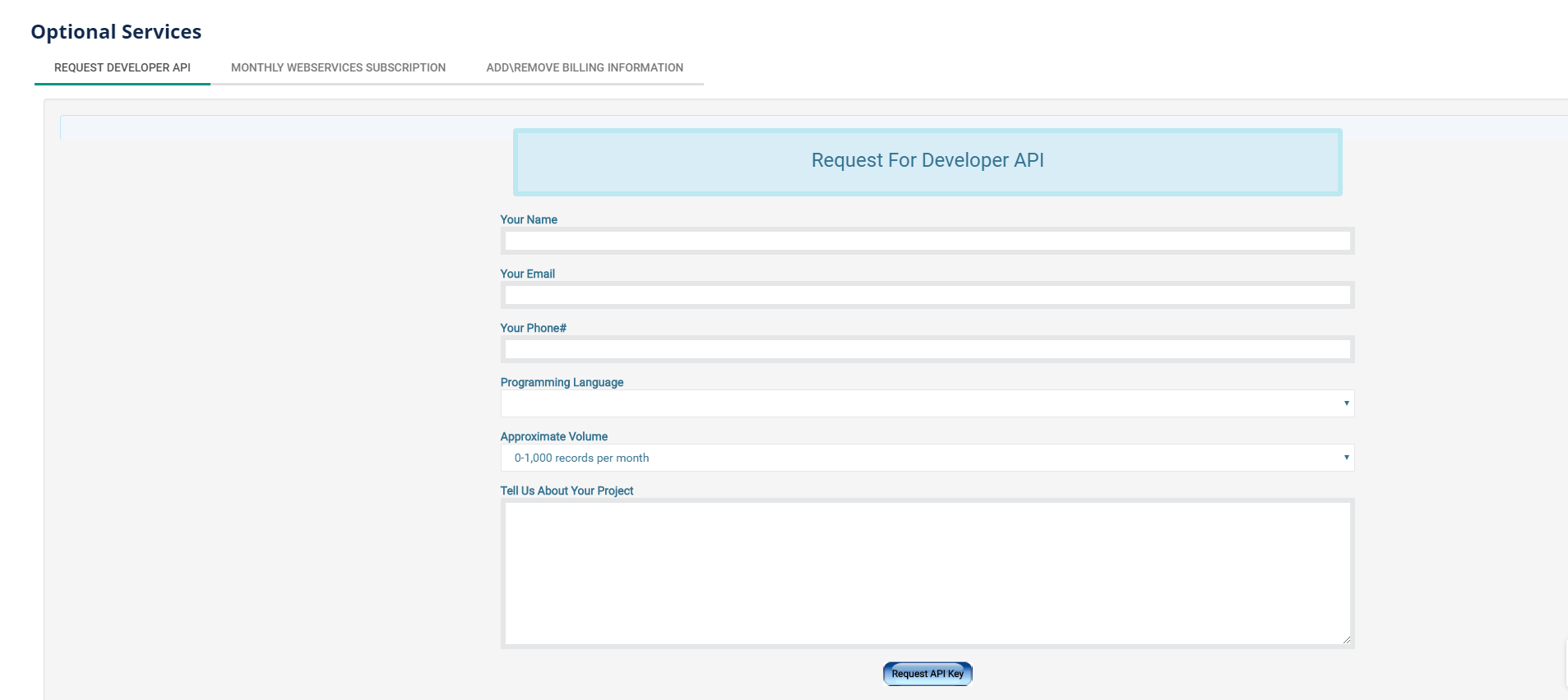 Developer API Request Key
