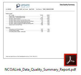 NCOALink Change Of Address Data Quality Summary Report