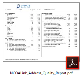 NCOALink Change Of Address Quality Report